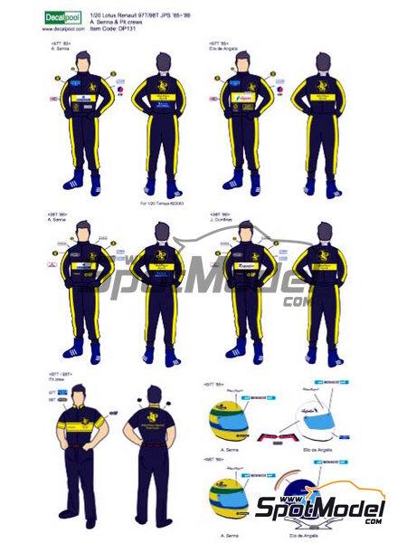 Ayrton Senna, Elio de Angelis, Johnny Dumfries y equipo John Player Special - Campeonato del Mundo de Formula1 1985 y 1986 | Decoración en escala1/20 fabricado por Decalpool (ref.DP131) image