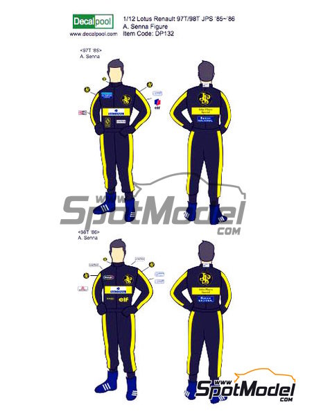 Ayrton Senna John Player Special - FIA Formula 1 World Championship 1985 and 1986 | Marking / livery in 1/12 scale manufactured by Decalpool (ref.DP132) image