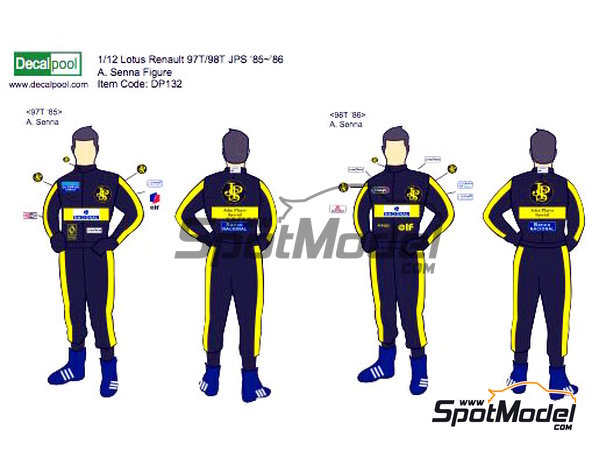 Image 1: Ayrton Senna John Player Special - FIA Formula 1 World Championship 1985 and 1986 | Marking / livery in 1/12 scale manufactured by Decalpool (ref.DP132)