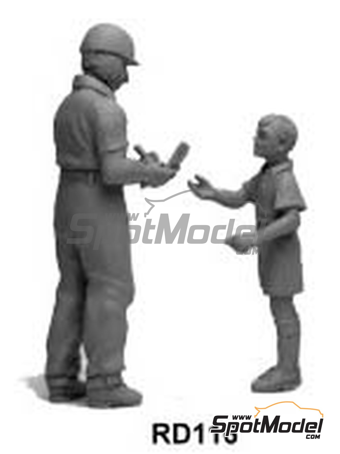 Driver signing programme for small boy - 2 figures | Figure in 1/43 scale manufactured by Denizen (ref. RD116) image