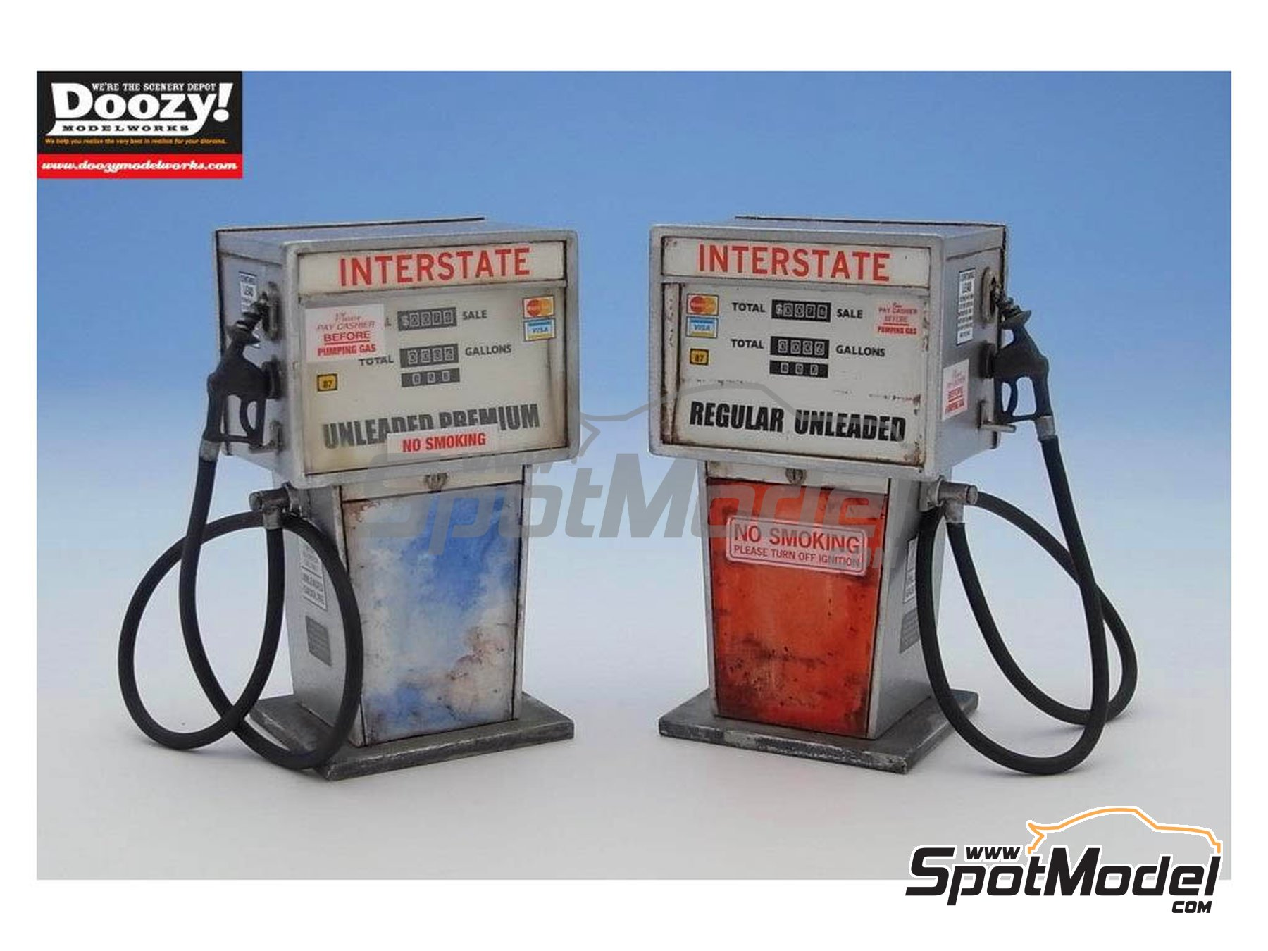 Image 4: Interstate old gas pump single hose - Type A | Model kit in 1/24 scale manufactured by Doozy Modelworks (ref. DZ001)