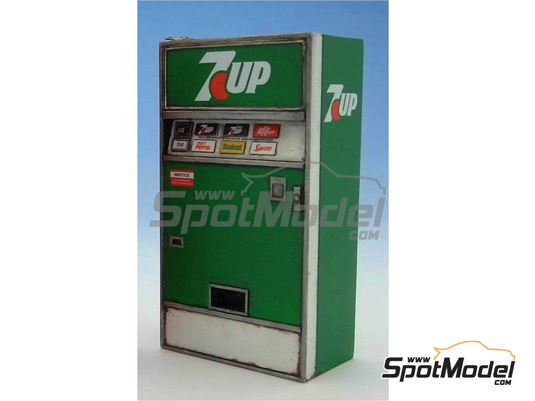 Image 3: 7UP soda vending machine - Type D | Model kit in 1/24 scale manufactured by Doozy Modelworks (ref.DZ008)