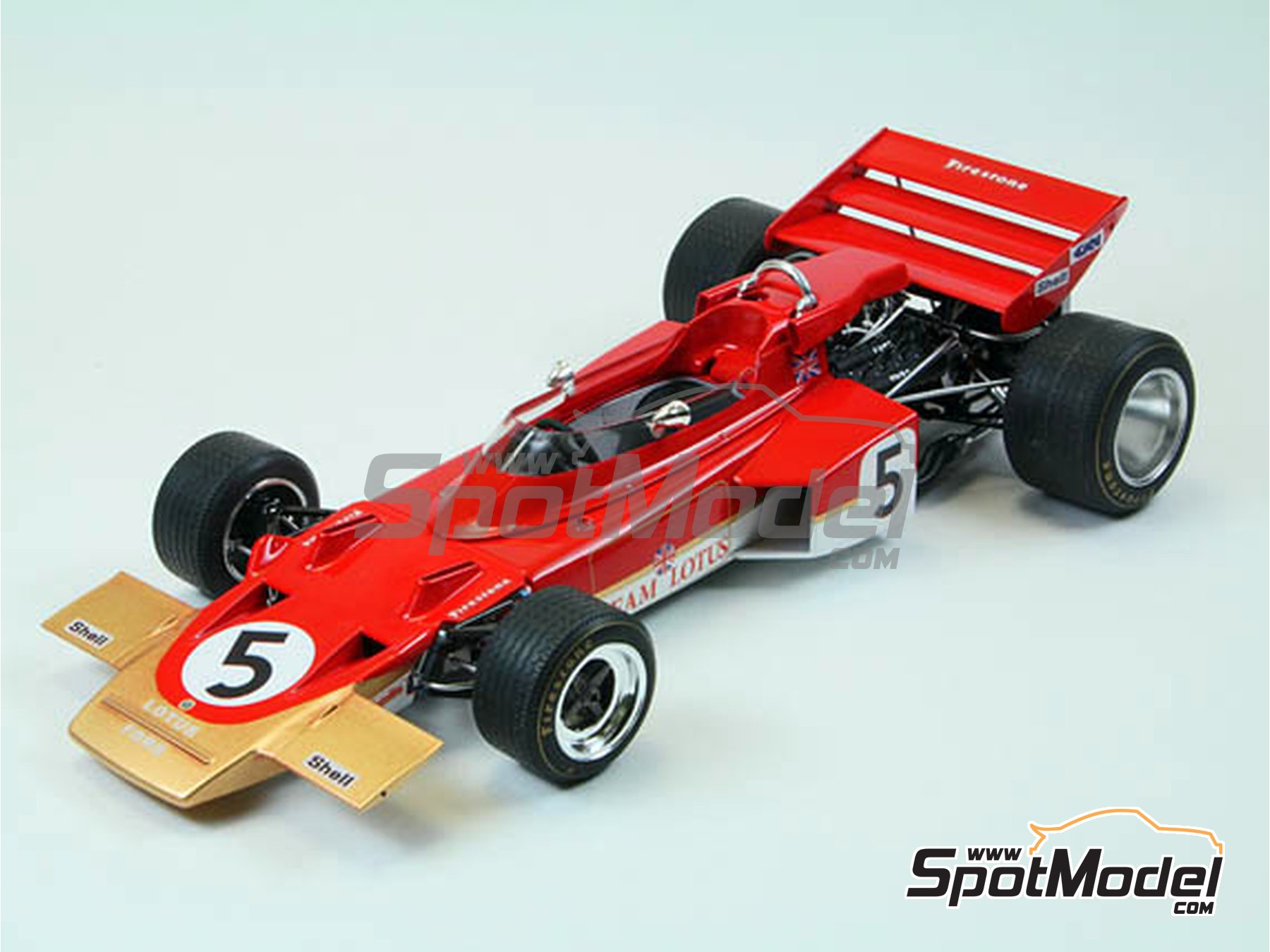 Image 2: Lotus Ford Type 72C Gold Leaf - Campeonato del Mundo de Formula1 1970 | Maqueta de coche en escala1/20 fabricado por Ebbro (ref.EBR20001, tambien 20001 y EBRPK-01)