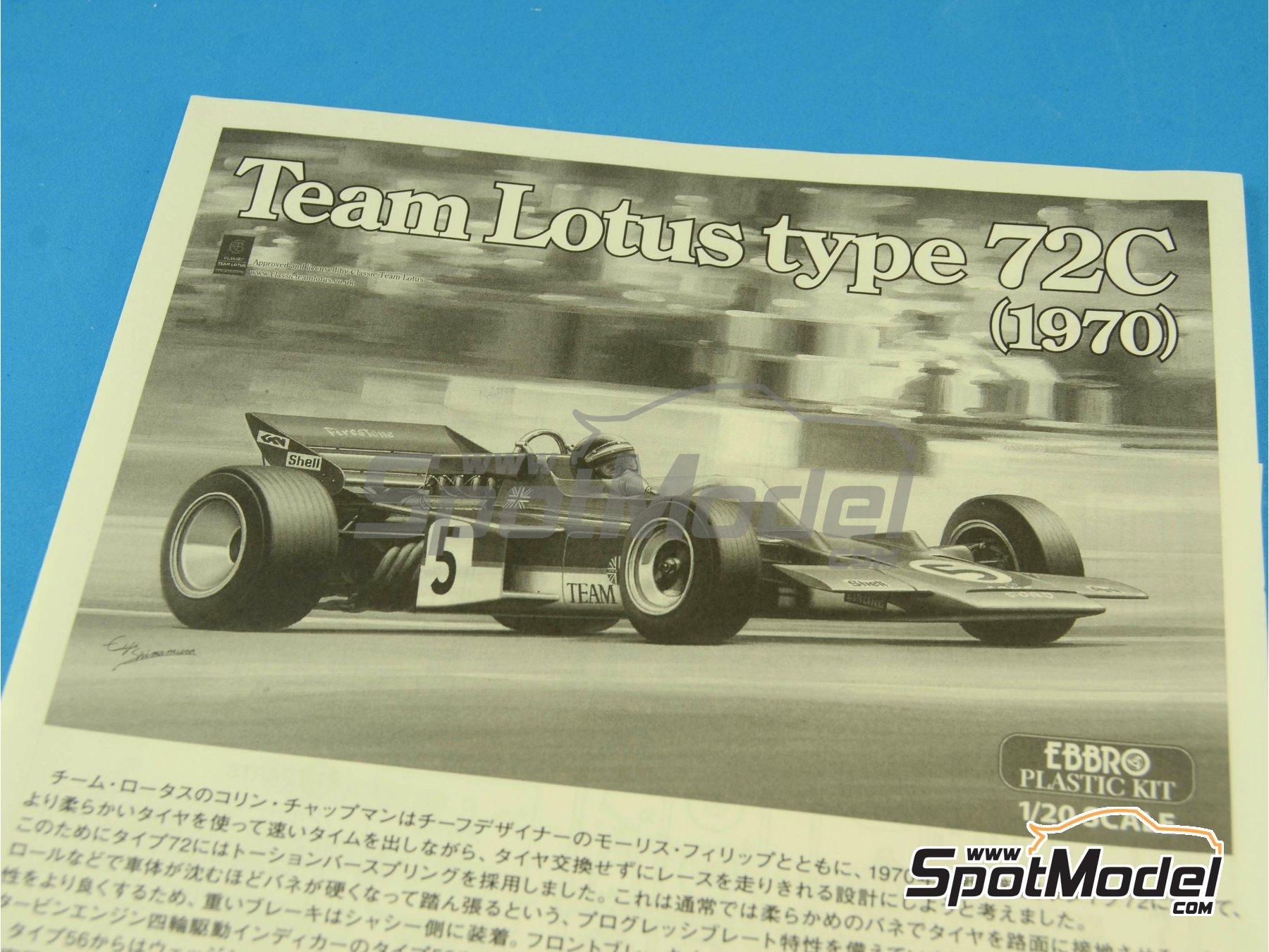 Image 5: Lotus Ford Type 72C Gold Leaf - Campeonato del Mundo de Formula1 1970 | Maqueta de coche en escala1/20 fabricado por Ebbro (ref.EBR20001, tambien 20001 y EBRPK-01)
