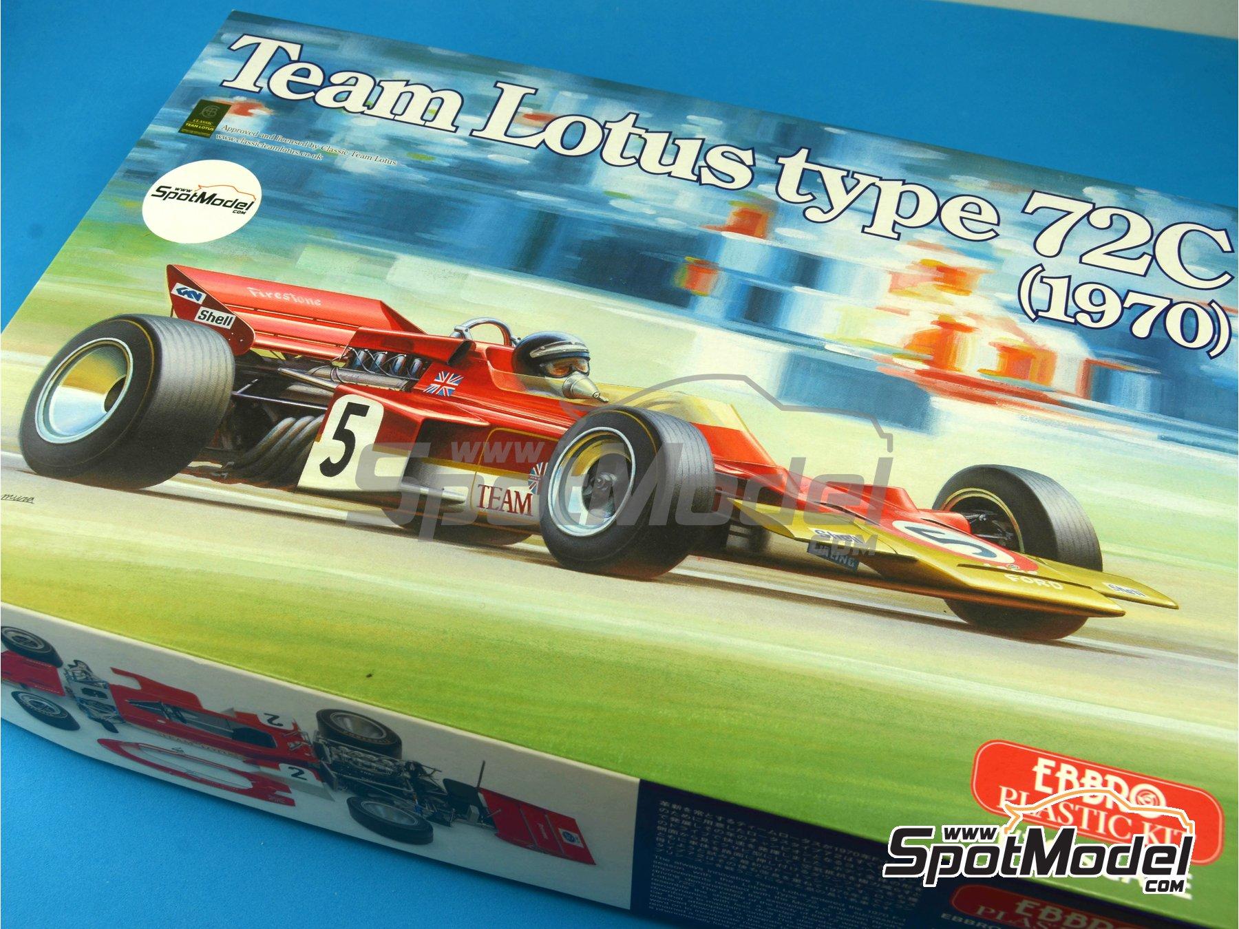 Image 18: Lotus Ford Type 72C Gold Leaf - Campeonato del Mundo de Formula1 1970 | Maqueta de coche en escala1/20 fabricado por Ebbro (ref.EBR20001, tambien 20001 y EBRPK-01)