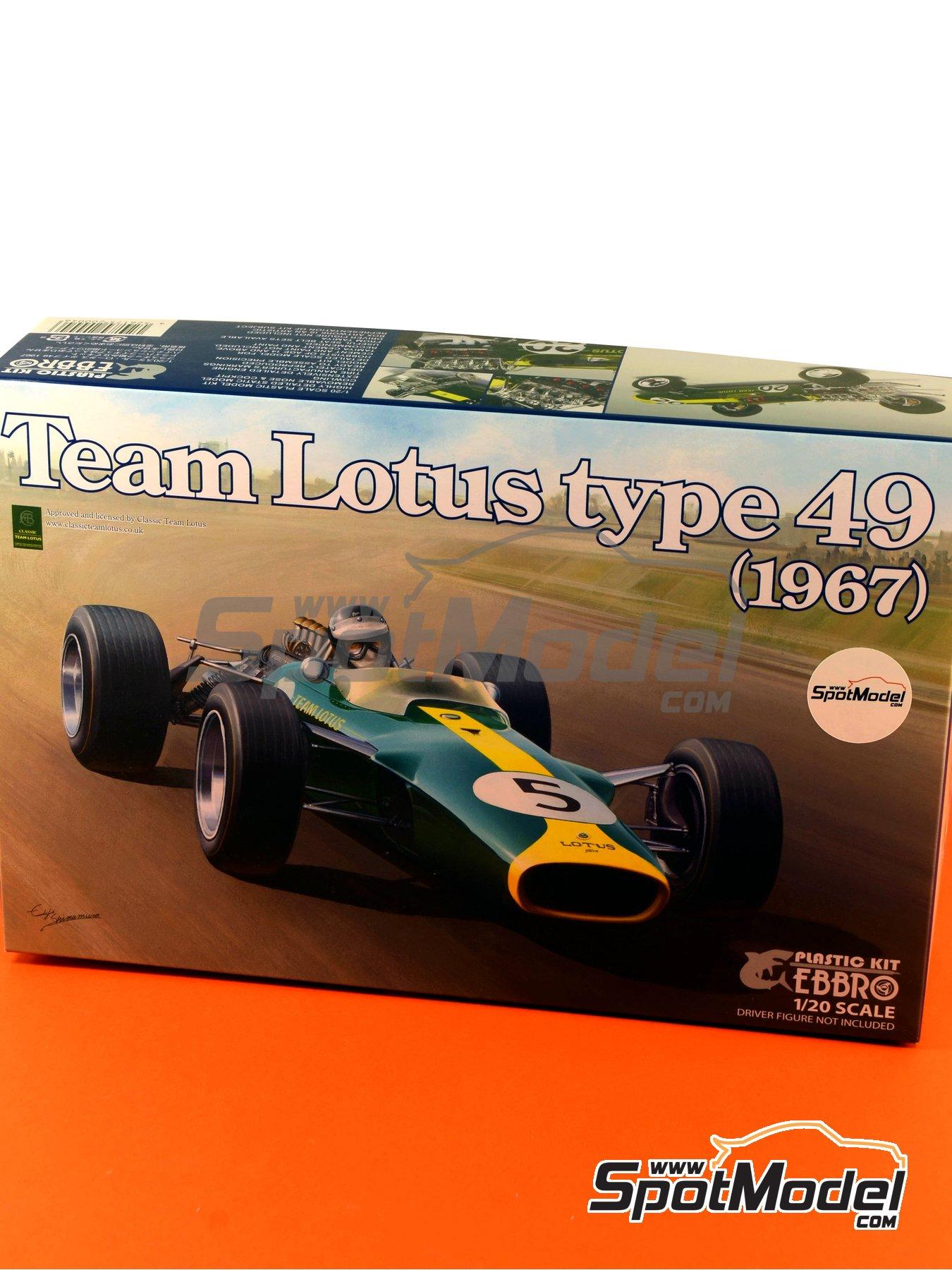 Lotus Ford Type 49 Shell - Gran Premio de Formula 1 de Holanda, Gran Premio de Fórmula 1 de Inglaterra, Gran Premio de Fórmula 1 de Italia, Gran Premio de Fórmula 1 de Mexico, Gran Premio de Fórmula 1 de Sudafrica, Gran Premio de Fórmula 1 de USA 1967 y 1968 | Maqueta de coche en escala1/20 fabricado por Ebbro (ref.EBR20004, tambien 20004) image