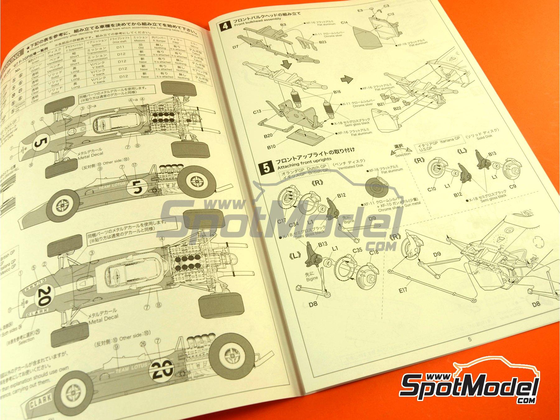 Image 10: Lotus Ford Type 49 Shell - Gran Premio de Formula 1 de Holanda, Gran Premio de Fórmula 1 de Inglaterra, Gran Premio de Fórmula 1 de Italia, Gran Premio de Fórmula 1 de Mexico, Gran Premio de Fórmula 1 de Sudafrica, Gran Premio de Fórmula 1 de USA 1967 y 1968 | Maqueta de coche en escala1/20 fabricado por Ebbro (ref.EBR20004, tambien 20004)