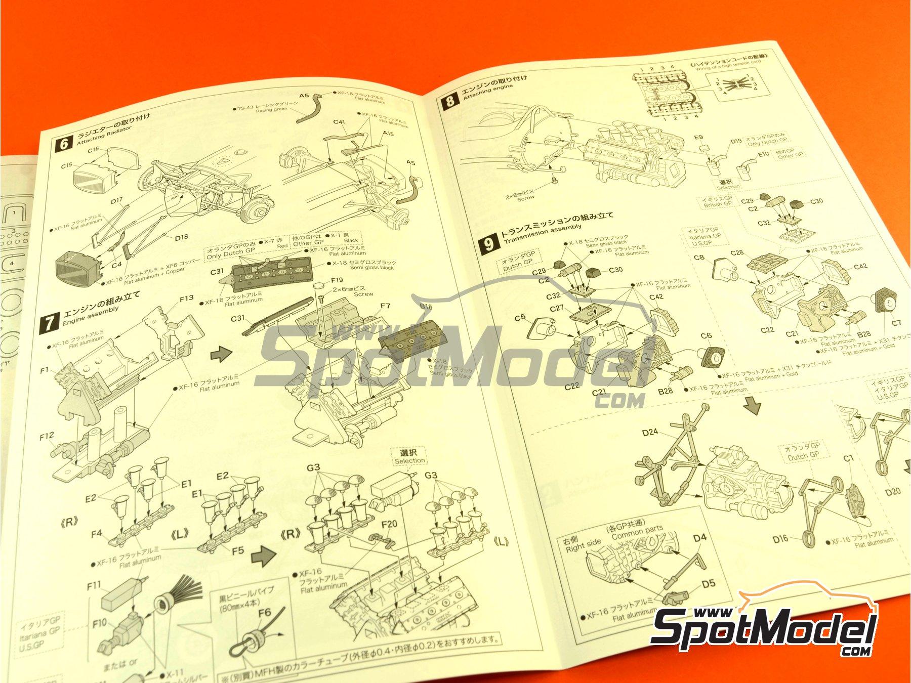 Image 11: Lotus Ford Type 49 Shell - Gran Premio de Formula 1 de Holanda, Gran Premio de Fórmula 1 de Inglaterra, Gran Premio de Fórmula 1 de Italia, Gran Premio de Fórmula 1 de Mexico, Gran Premio de Fórmula 1 de Sudafrica, Gran Premio de Fórmula 1 de USA 1967 y 1968 | Maqueta de coche en escala1/20 fabricado por Ebbro (ref.EBR20004, tambien 20004)