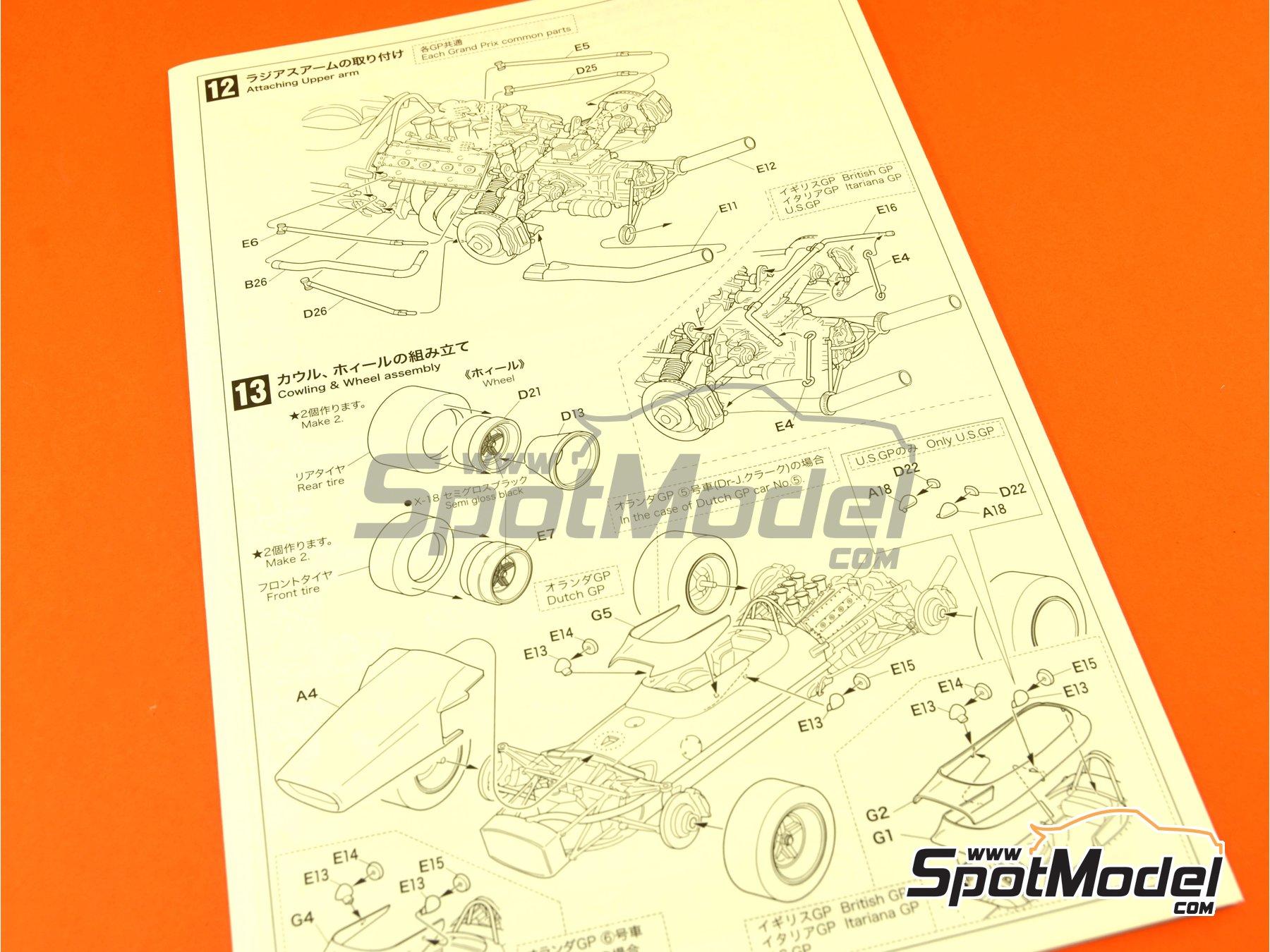 Image 12: Lotus Ford Type 49 Shell - Gran Premio de Formula 1 de Holanda, Gran Premio de Fórmula 1 de Inglaterra, Gran Premio de Fórmula 1 de Italia, Gran Premio de Fórmula 1 de Mexico, Gran Premio de Fórmula 1 de Sudafrica, Gran Premio de Fórmula 1 de USA 1967 y 1968 | Maqueta de coche en escala1/20 fabricado por Ebbro (ref.EBR20004, tambien 20004)