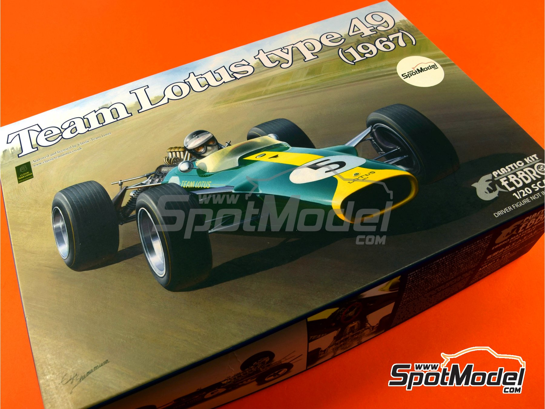 Image 15: Lotus Ford Type 49 Shell - Gran Premio de Formula 1 de Holanda, Gran Premio de Fórmula 1 de Inglaterra, Gran Premio de Fórmula 1 de Italia, Gran Premio de Fórmula 1 de Mexico, Gran Premio de Fórmula 1 de Sudafrica, Gran Premio de Fórmula 1 de USA 1967 y 1968 | Maqueta de coche en escala1/20 fabricado por Ebbro (ref.EBR20004, tambien 20004)