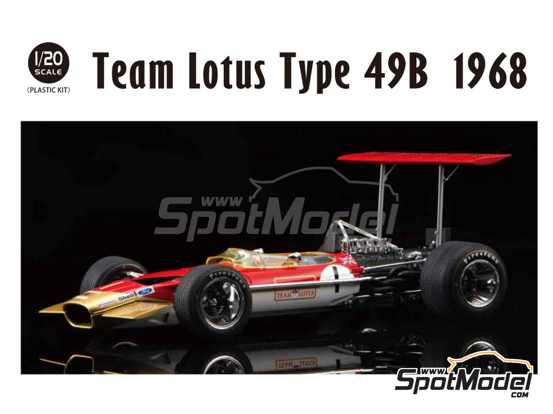 Image 1: Lotus Ford Type 49B Gold Leaf - FIA Formula 1 World Championship 1968 | Model car kit in 1/20 scale manufactured by Ebbro (ref. EBR20005)