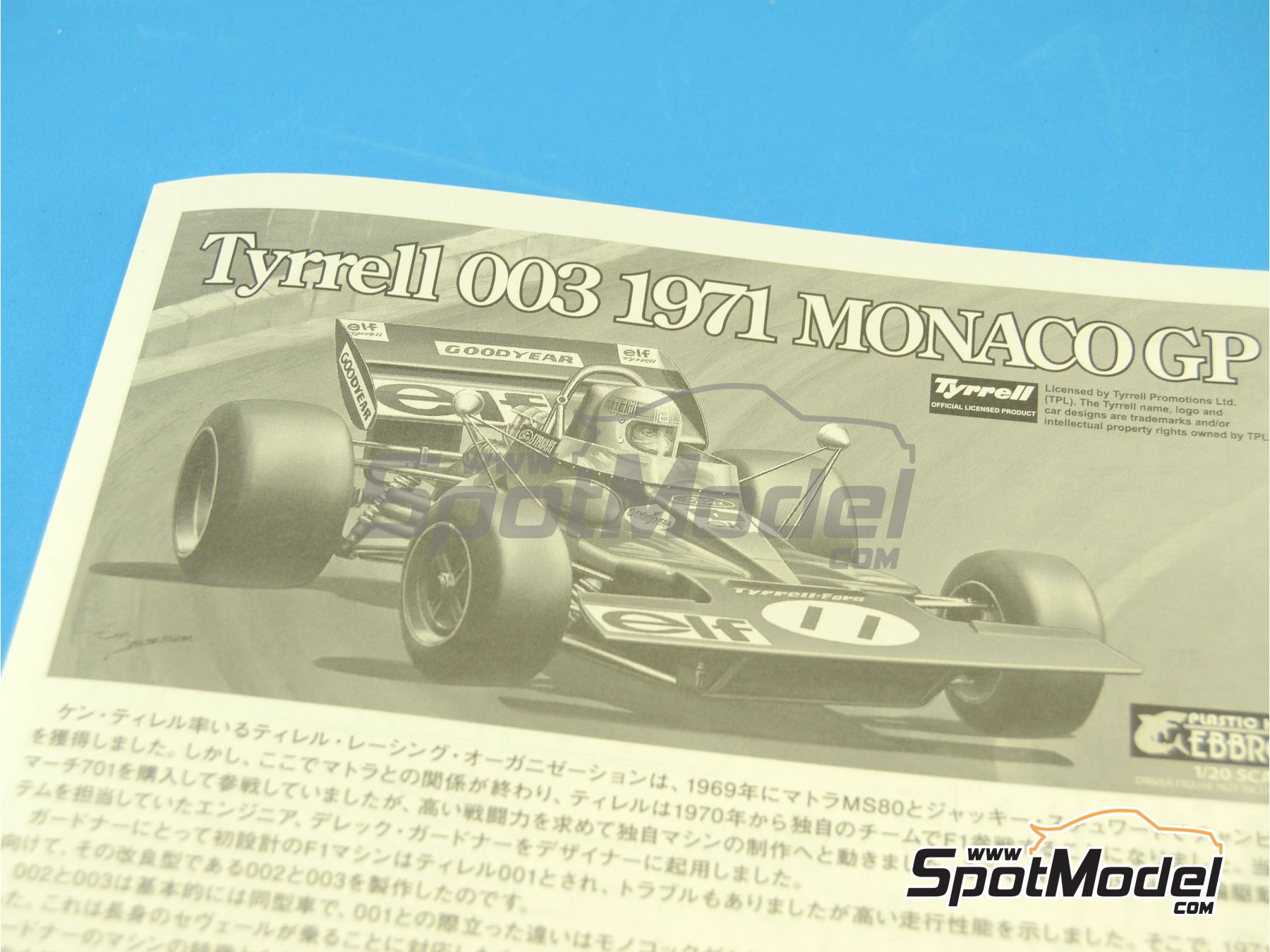 Image 1: Tyrrell Ford 003 ELF - Spanish Formula 1 Grand Prix, Monaco Formula 1 Grand Prix 1971 | Model car kit in 1/20 scale manufactured by Ebbro (ref.EBR20007, also 20007)