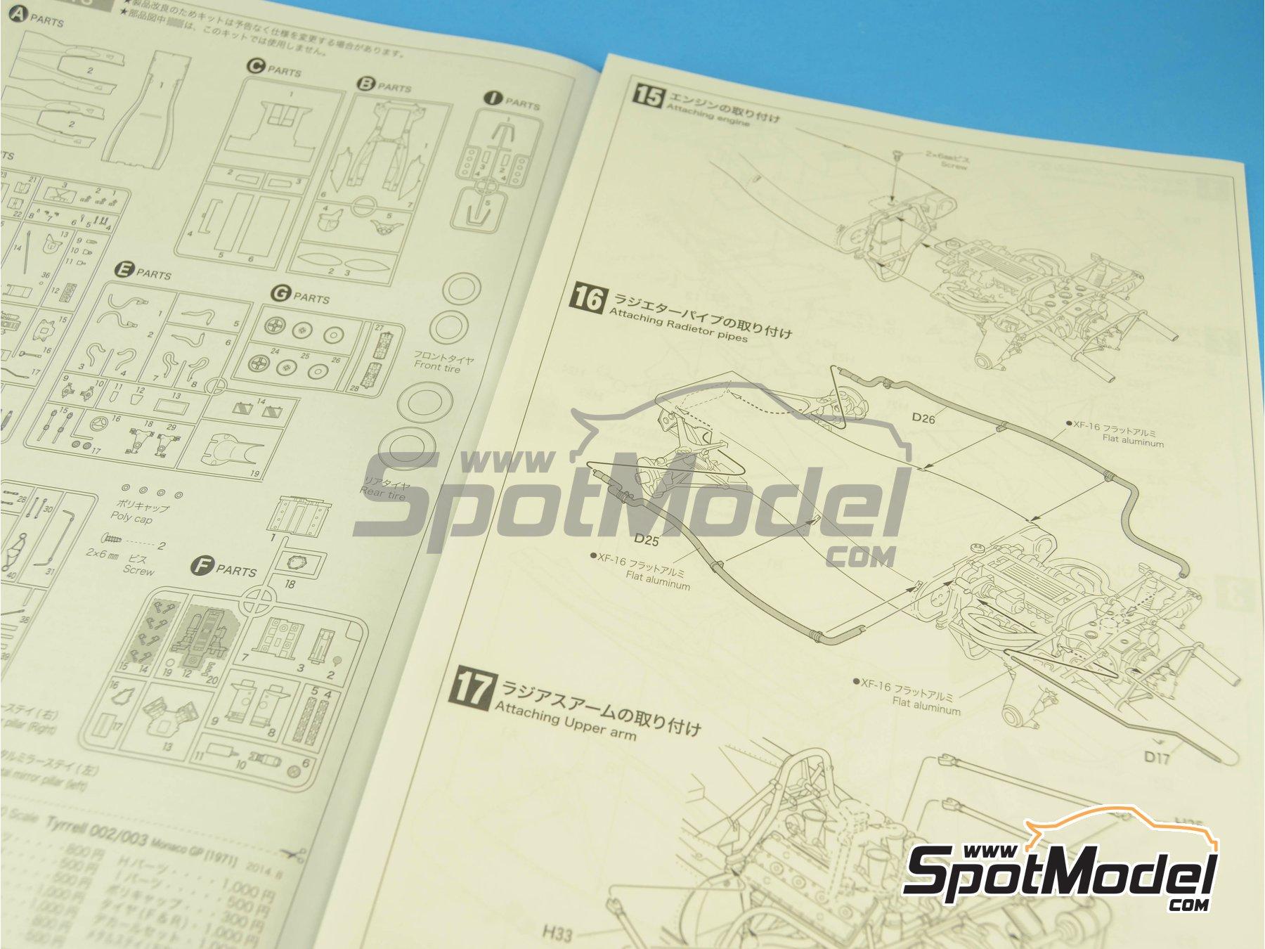 Image 3: Tyrrell Ford 003 ELF - Spanish Formula 1 Grand Prix, Monaco Formula 1 Grand Prix 1971 | Model car kit in 1/20 scale manufactured by Ebbro (ref.EBR20007, also 20007)