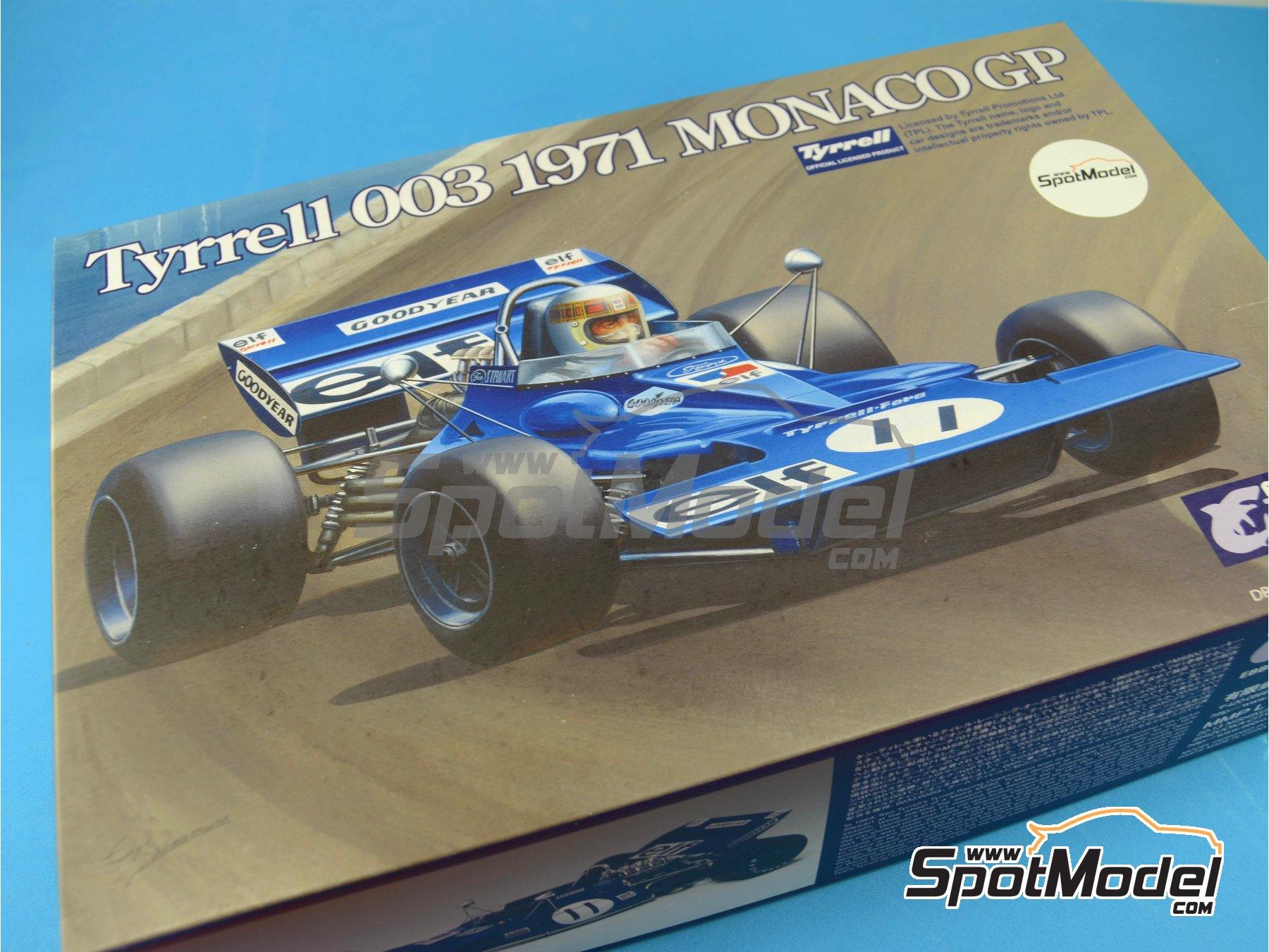 Image 8: Tyrrell Ford 003 ELF - Spanish Formula 1 Grand Prix, Monaco Formula 1 Grand Prix 1971 | Model car kit in 1/20 scale manufactured by Ebbro (ref.EBR20007, also 20007)