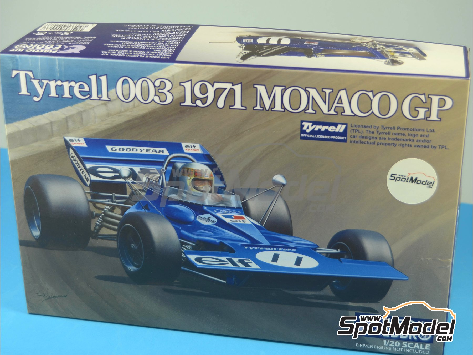 Image 17: Tyrrell Ford 003 ELF - Spanish Formula 1 Grand Prix, Monaco Formula 1 Grand Prix 1971 | Model car kit in 1/20 scale manufactured by Ebbro (ref.EBR20007, also 20007)