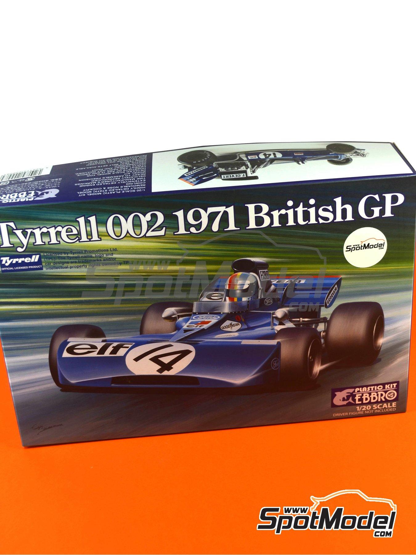 Tyrrell Ford 002 ELF - Dutch Formula 1 Grand Prix, British Formula 1 Grand Prix 1971   Model car kit in 1/20 scale manufactured by Ebbro (ref.EBR20008, also 20008) image