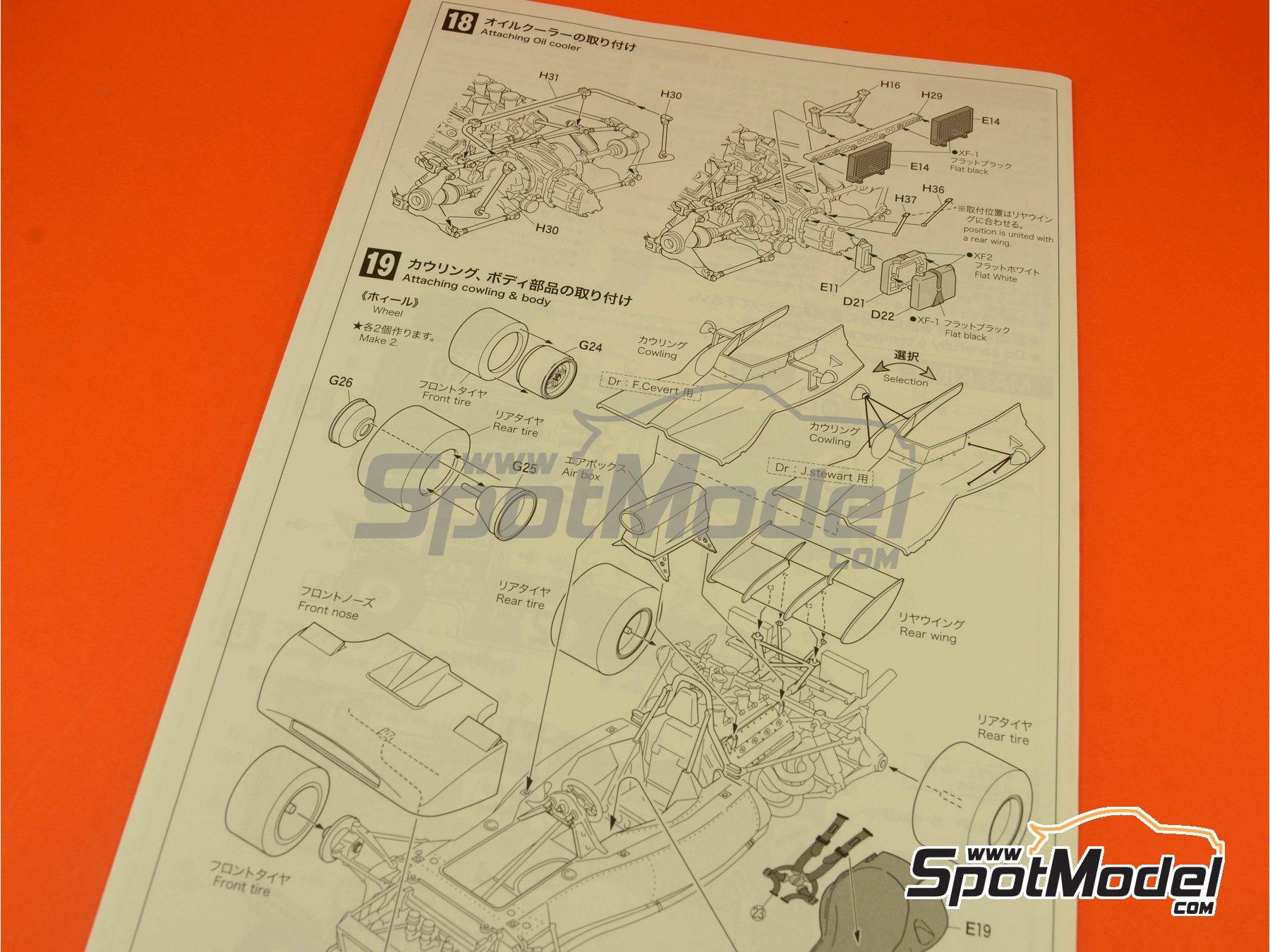 Image 12: Tyrrell Ford 002 ELF - Dutch Formula 1 Grand Prix, British Formula 1 Grand Prix 1971   Model car kit in 1/20 scale manufactured by Ebbro (ref.EBR20008, also 20008)