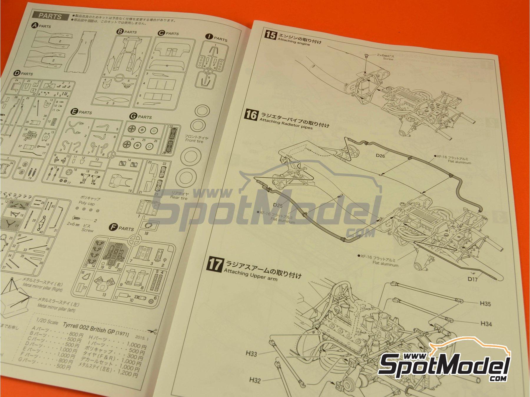 Image 13: Tyrrell Ford 002 ELF - Dutch Formula 1 Grand Prix, British Formula 1 Grand Prix 1971   Model car kit in 1/20 scale manufactured by Ebbro (ref.EBR20008, also 20008)