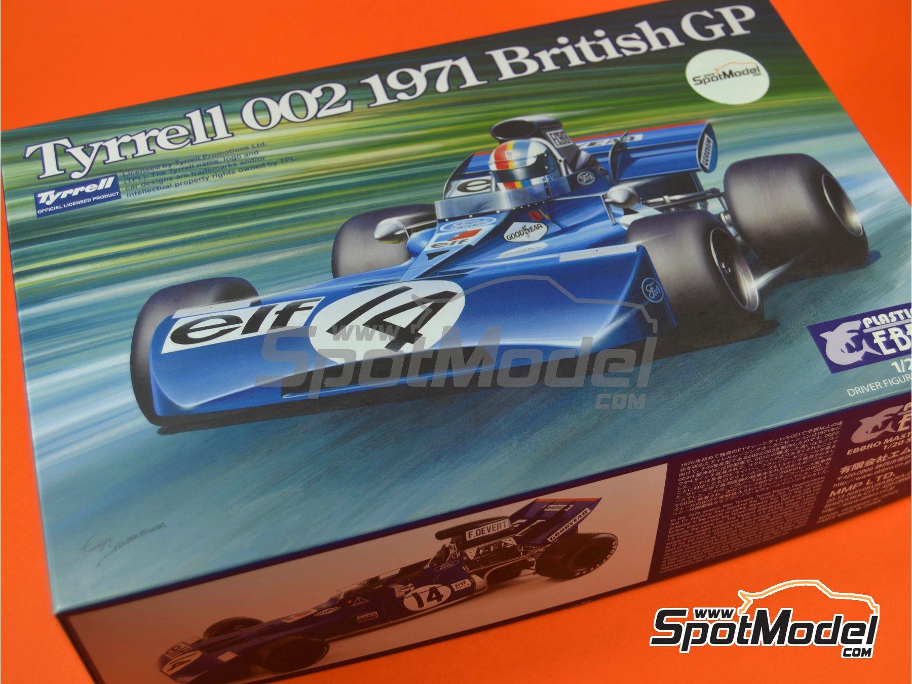 Image 14: Tyrrell Ford 002 ELF - Dutch Formula 1 Grand Prix, British Formula 1 Grand Prix 1971   Model car kit in 1/20 scale manufactured by Ebbro (ref.EBR20008, also 20008)