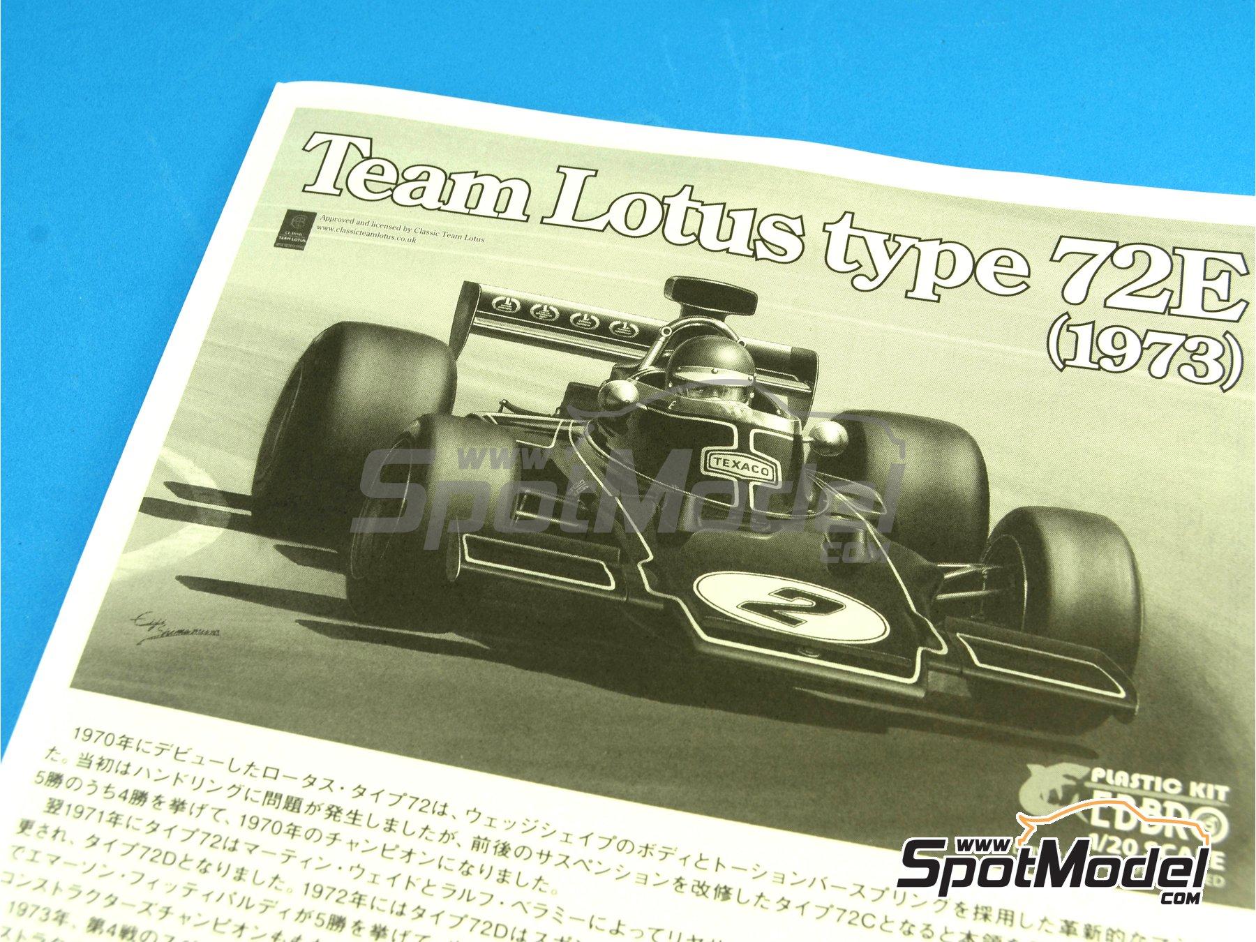 Image 1: Lotus Ford Type 72E John Player Special - Campeonato del Mundo de Formula1 1972 y 1973 | Maqueta de coche en escala1/20 fabricado por Ebbro (ref.EBR20009, tambien 20009)