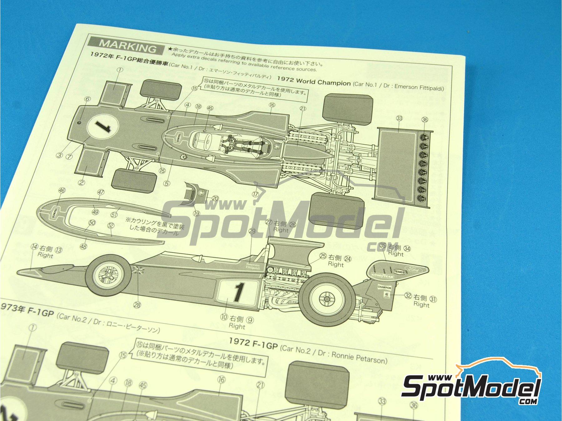 Image 6: Lotus Ford Type 72E John Player Special - Campeonato del Mundo de Formula1 1972 y 1973 | Maqueta de coche en escala1/20 fabricado por Ebbro (ref.EBR20009, tambien 20009)