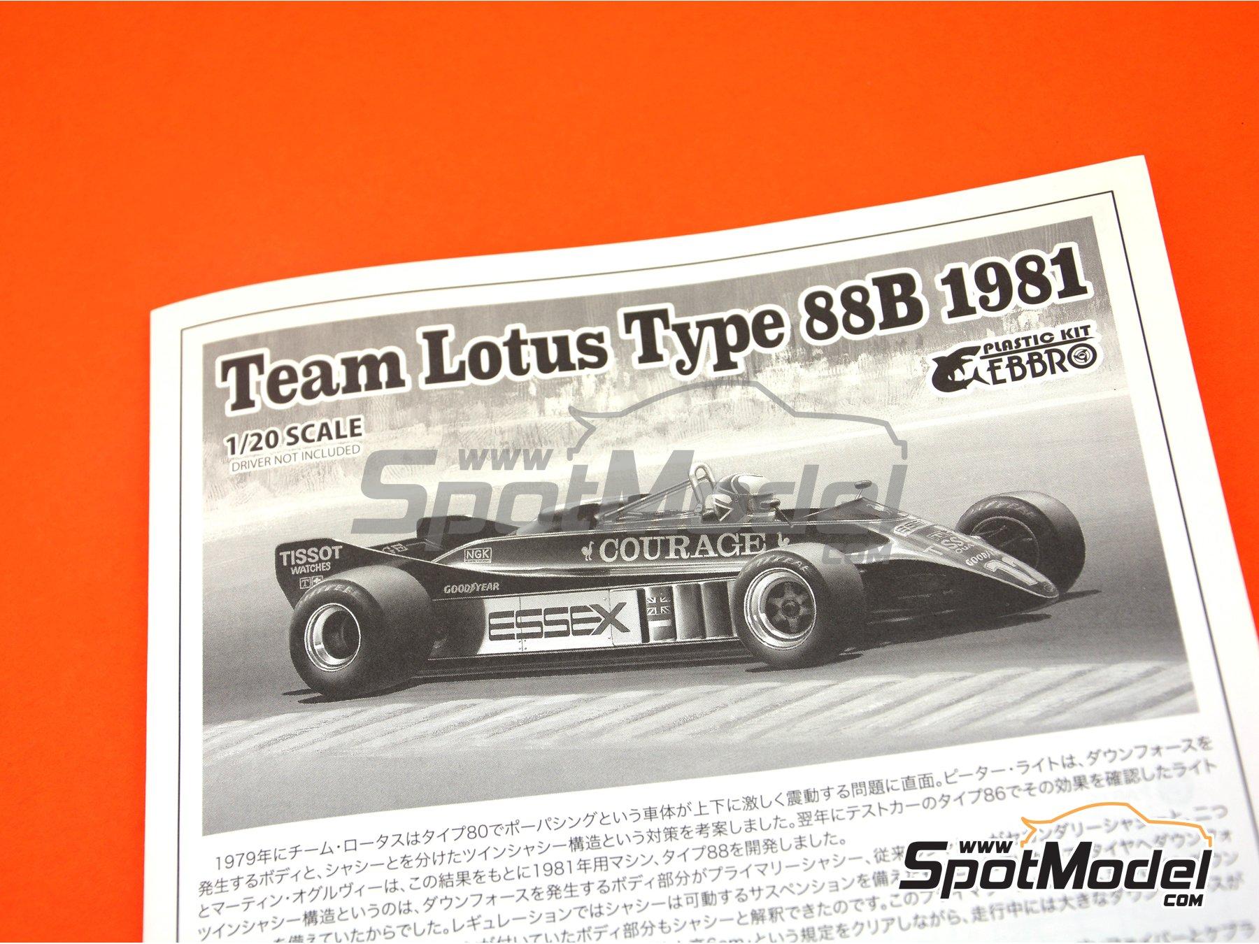 Image 13: Lotus Ford Type 88B Essex - Gran Premio de Fórmula 1 de Inglaterra 1981 | Maqueta de coche en escala1/20 fabricado por Ebbro (ref.EBR20010, tambien 20010)