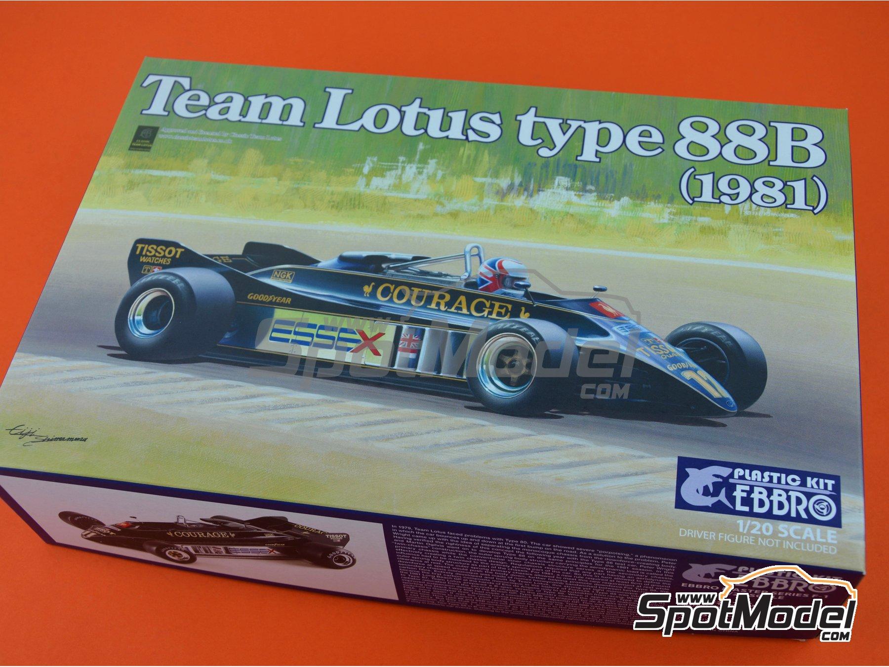 Image 18: Lotus Ford Type 88B Essex - Gran Premio de Fórmula 1 de Inglaterra 1981 | Maqueta de coche en escala1/20 fabricado por Ebbro (ref.EBR20010, tambien 20010)