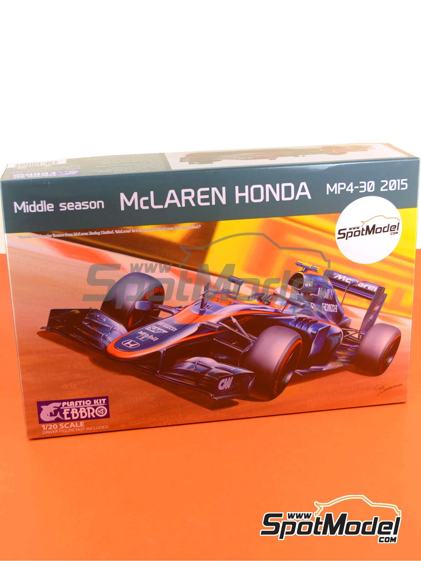 McLaren Honda MP4/30 - FIA Formula 1 World Championship 2015 | Model car kit in 1/20 scale manufactured by Ebbro (ref. EBR20014) image