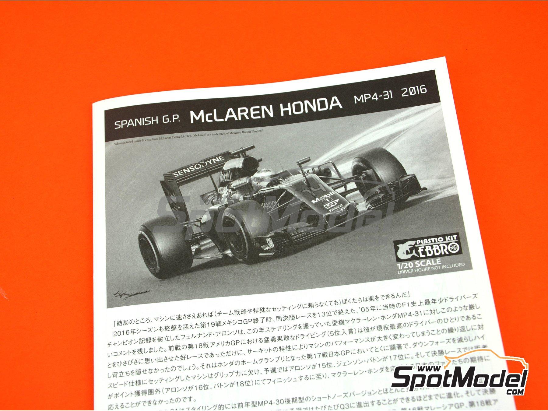 Image 22: McLaren Honda MP4/31 - Spanish Grand Prix 2016 | Model car kit in 1/20 scale manufactured by Ebbro (ref.EBR20018)