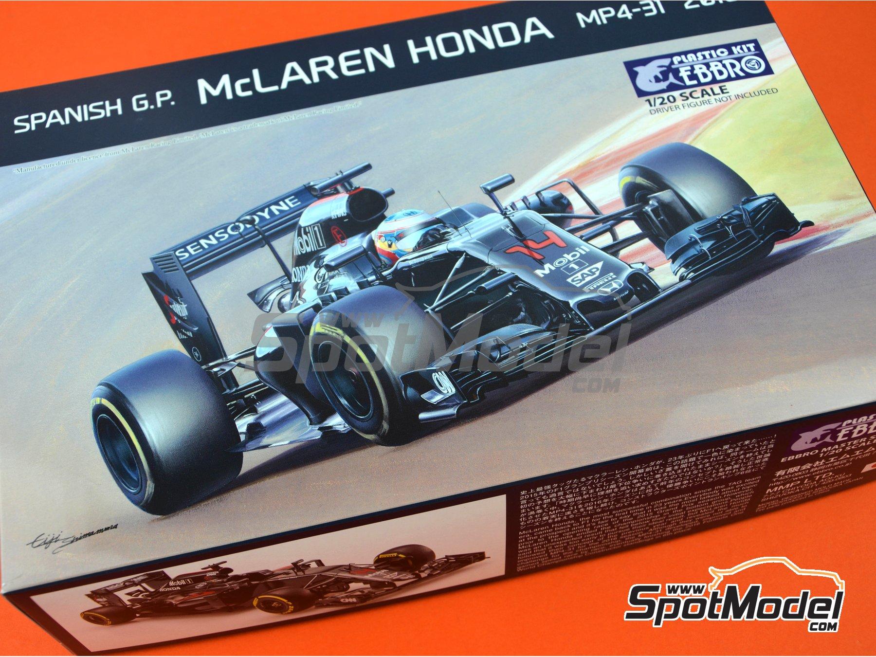 Image 26: McLaren Honda MP4/31 - Spanish Grand Prix 2016 | Model car kit in 1/20 scale manufactured by Ebbro (ref.EBR20018)