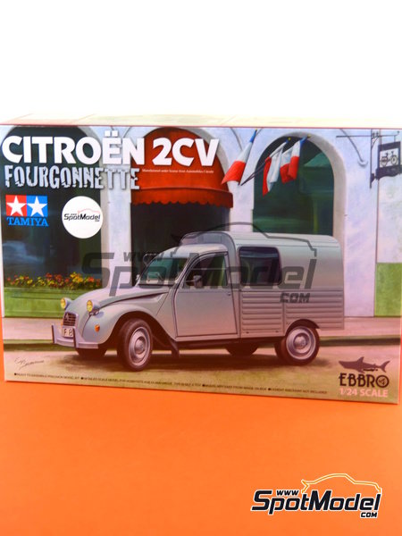Citroën 2CV | Model car kit in 1/24 scale manufactured by Ebbro (ref. EBR25001, also 25001) image