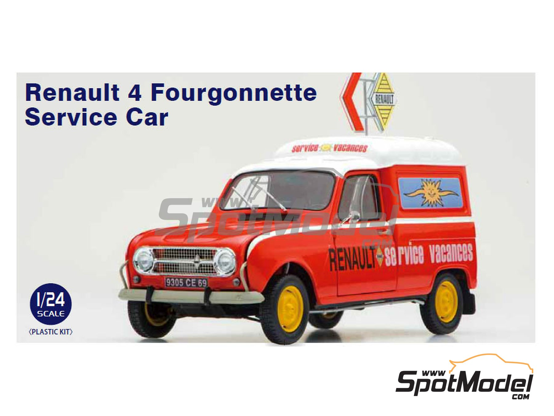 Image 1: Renault 4 Fourgonnette   Model car kit in 1/24 scale manufactured by Ebbro (ref.EBR25012)