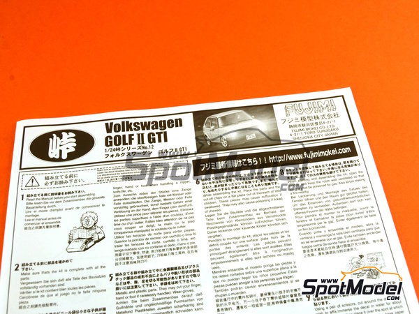 Image 13: Volkswagen Golf II GTI | Model car kit in 1/24 scale manufactured by Fujimi (ref.FJ046020, also 04602 and 46020)