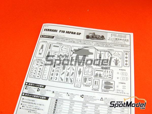 Image 10: Ferrari F10 Banco Santander - Gran Premio de Fórmula 1 de Japón 2010   Maqueta de coche en escala1/20 fabricado por Fujimi (ref.FJ090870, tambien 090870, 09087 y GP-32)