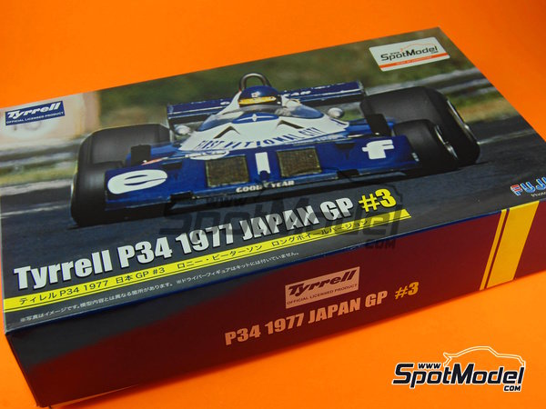 Image 1: Tyrrell Ford P34 Six Wheels ELF - Japanese Formula 1 Grand Prix 1977 | Model car kit in 1/20 scale manufactured by Fujimi (ref. FJ090900, also 090900, 09090 and GP-34)