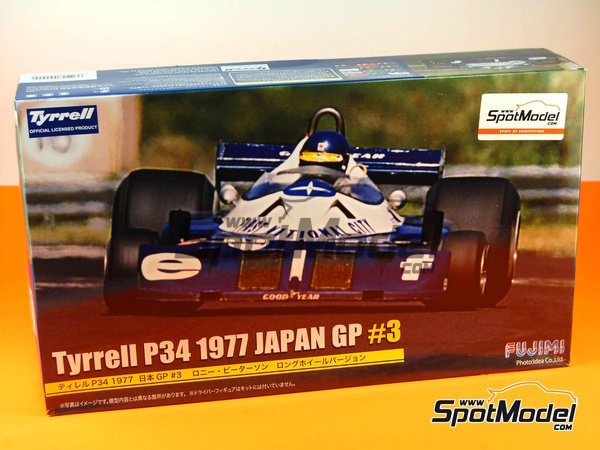 Image 15: Tyrrell Ford P34 Six Wheels ELF - Japanese Formula 1 Grand Prix 1977 | Model car kit in 1/20 scale manufactured by Fujimi (ref. FJ090900, also 090900, 09090 and GP-34)