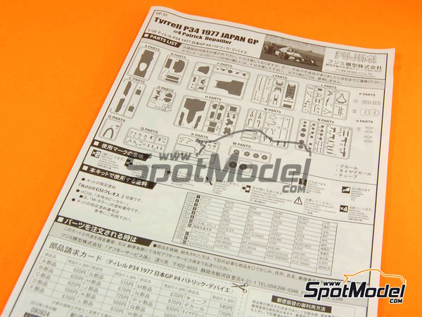 Image 10: Tyrrell Ford P34 ELF - Japanese Formula 1 Grand Prix 1977 | Model car kit in 1/20 scale manufactured by Fujimi (ref.FJ090924, also 090924, 09092 and GP-35)