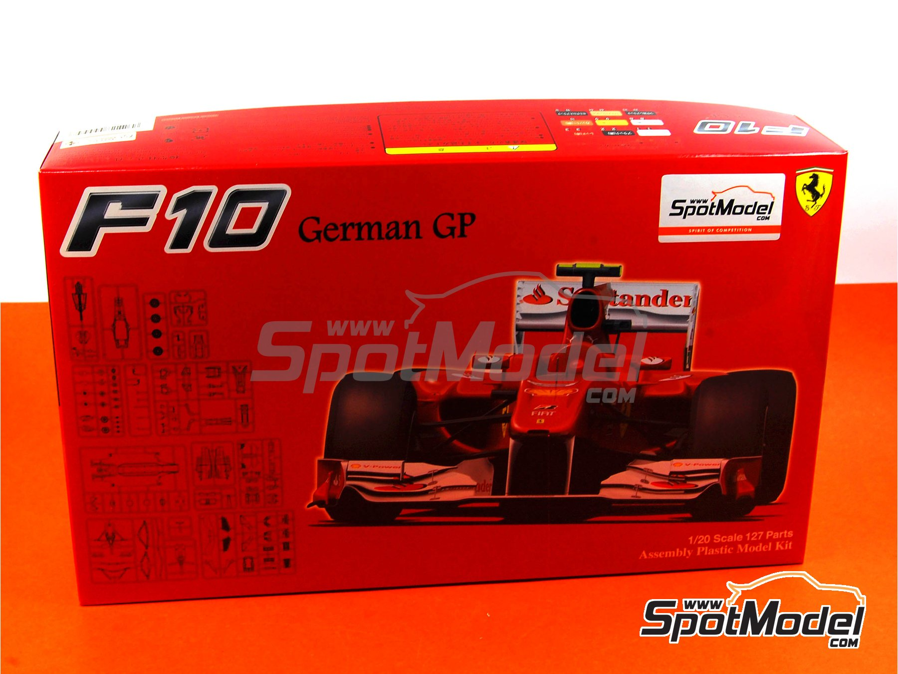 Image 1: Ferrari F10 Banco Santander - German Grand Prix 2010 | Model car kit in 1/20 scale manufactured by Fujimi (ref. FJ090948)