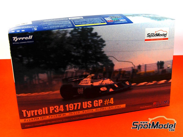 Image 1: Tyrrell Ford P34 Six Wheels ELF - USA Formula 1 Grand Prix 1977   Model car kit in 1/20 scale manufactured by Fujimi (ref.FJ09098, also 090986, 09098 and GP-40)