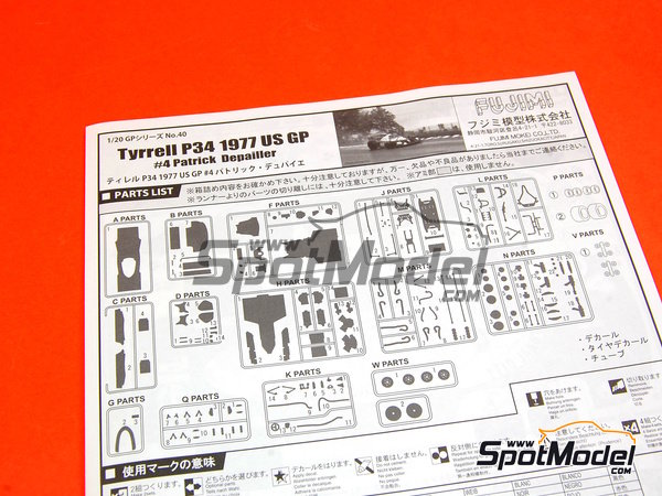 Image 2: Tyrrell Ford P34 Six Wheels ELF - USA Formula 1 Grand Prix 1977   Model car kit in 1/20 scale manufactured by Fujimi (ref.FJ09098, also 090986, 09098 and GP-40)