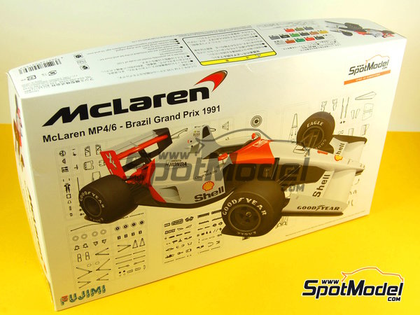 Image 16: McLaren Honda MP4/6 Marlboro - Gran Premio de Fórmula 1 de Brasil 1991 | Maqueta de coche en escala1/20 fabricado por Fujimi (ref.FJ091693)