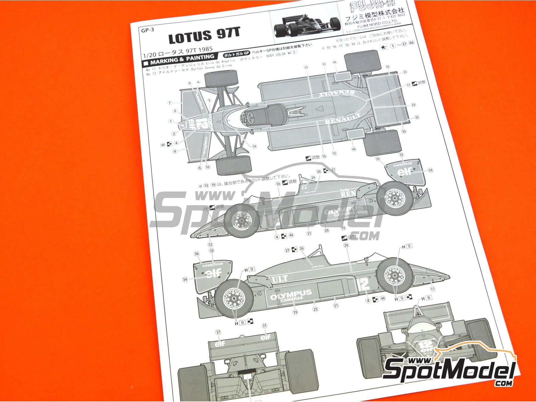 Image 17: Lotus Renault 97T Olympus - Portuguese Grand Prix 1985 | Model car kit in 1/20 scale manufactured by Fujimi (ref.FJ091952)