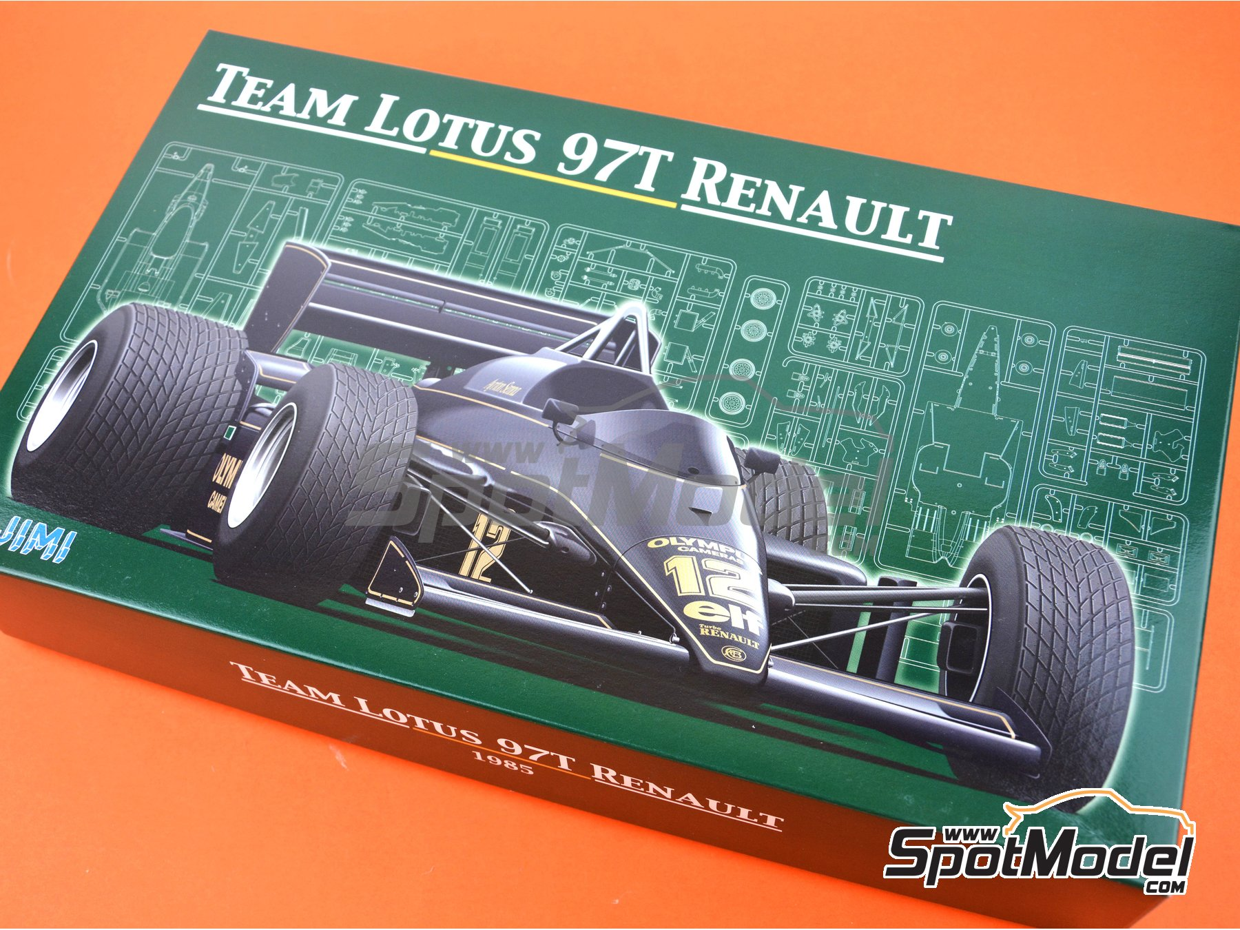 Image 21: Lotus Renault 97T Olympus - Portuguese Grand Prix 1985 | Model car kit in 1/20 scale manufactured by Fujimi (ref. FJ091952)