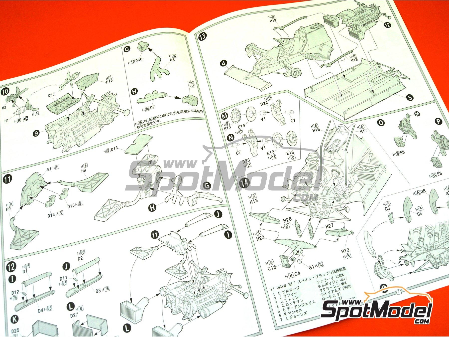 Image 16: Ferrari 126 CK Michelin - Campeonato del Mundo de Formula1 1981 | Maqueta de coche en escala1/20 fabricado por Fujimi (ref.FJ091969, tambien 091969, 09196 y GP-4)