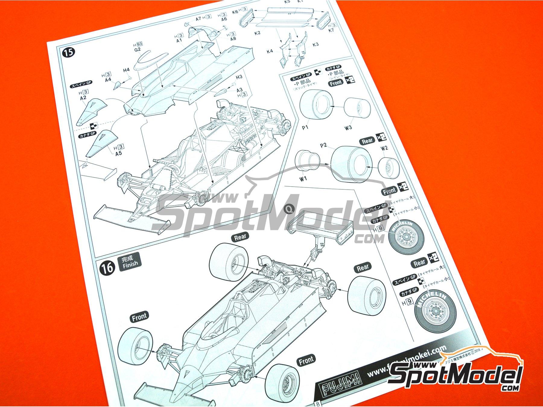 Image 17: Ferrari 126 CK Michelin - Campeonato del Mundo de Formula1 1981 | Maqueta de coche en escala1/20 fabricado por Fujimi (ref.FJ091969, tambien 091969, 09196 y GP-4)