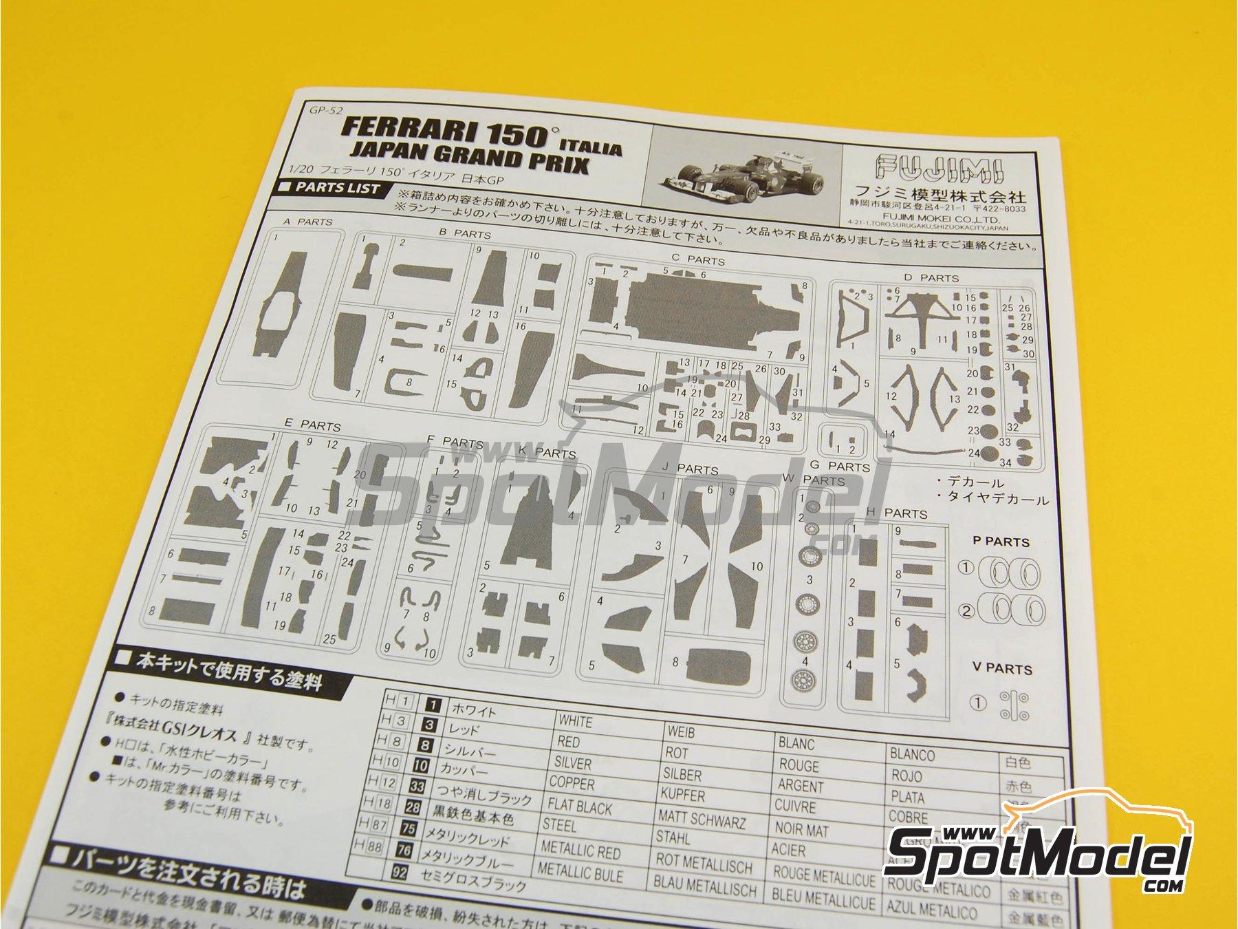 Image 15: Ferrari 150 Italia Banco Santander - Japanese Formula 1 Grand Prix 2011 | Model car kit in 1/20 scale manufactured by Fujimi (ref.FJ092010, also GP-13, FJ09201, 092010 and 09201)