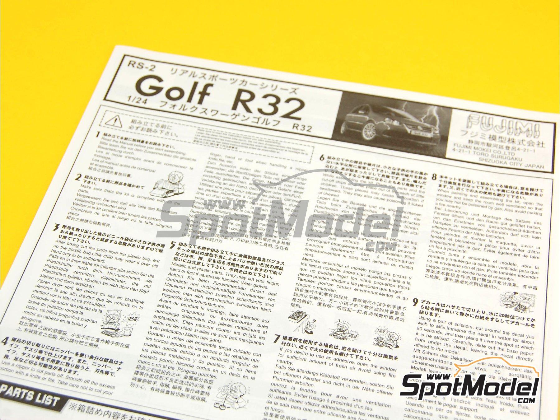 Image 15: Volkswagen Golf R32 | Maqueta de coche en escala1/24 fabricado por Fujimi (ref.FJ123288, tambien 123288 y 12328)