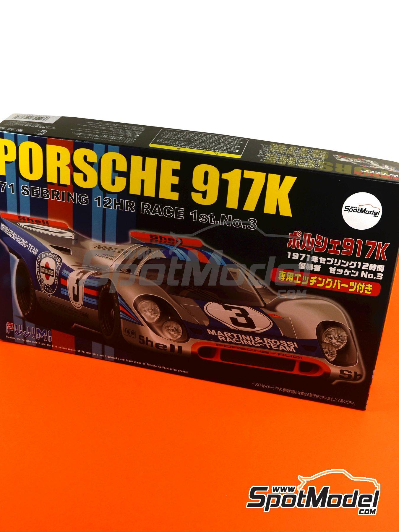Porsche 917K Martini - 12 horas de Sebring 1971 | Maqueta de coche en escala1/24 fabricado por Fujimi (ref.FJ123882, tambien 123882 y RS-84) image