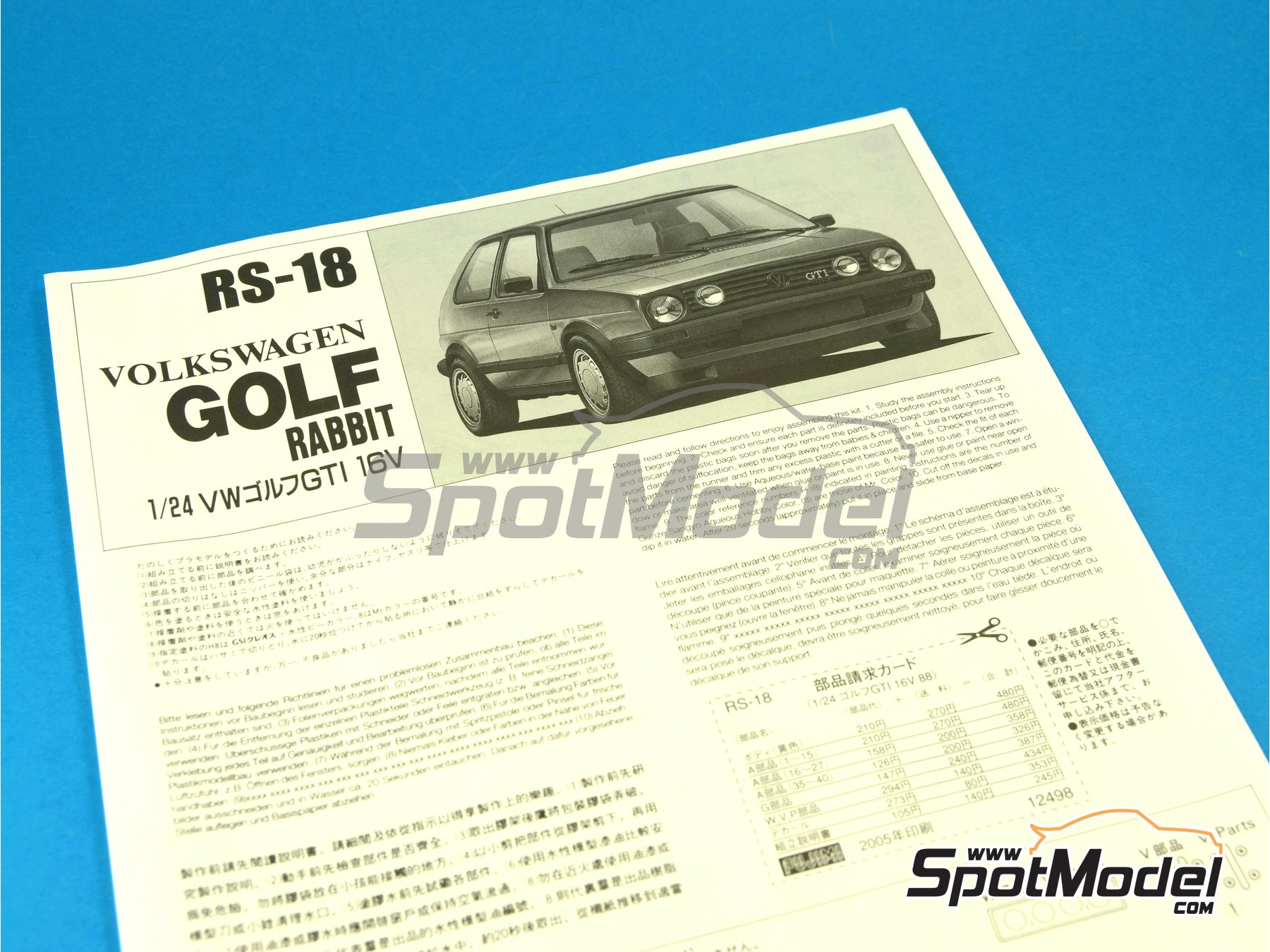 Image 7: Volkswagen Golf II Gti 16v | Model car kit in 1/24 scale manufactured by Fujimi (ref.FJ12498, also 124988, 12498 and RS-18)