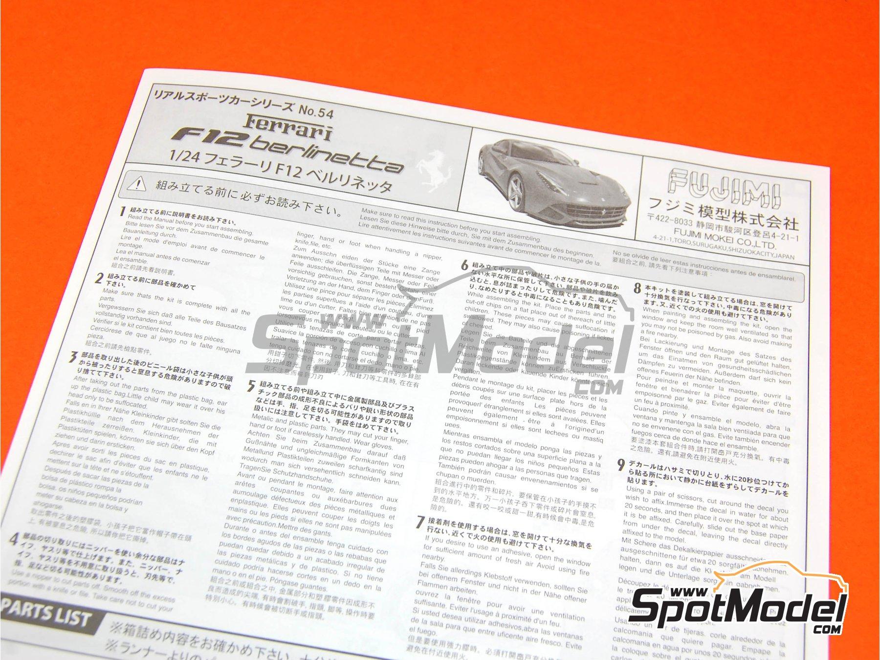 Image 1: Ferrari F12 Berlinetta | Model car kit in 1/24 scale manufactured by Fujimi (ref.FJ125626, also 125626 and RS-54)